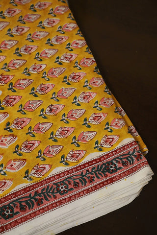 Yellow with Pink Block Printed Sanganeri Cotton Fabric