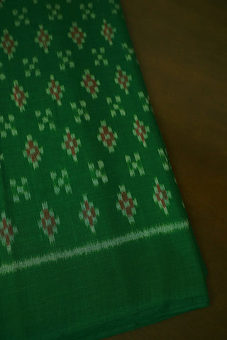 Green with Maroon Orissa Ikat Cotton Fabric