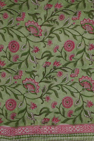Light Green with Pink Floral Sanganeri Cotton Fabric