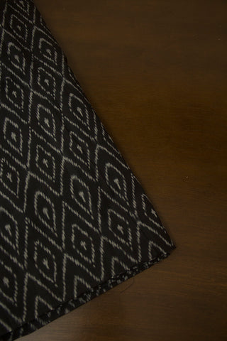 Grey in Black Mercerized Ikat Cotton Fabric