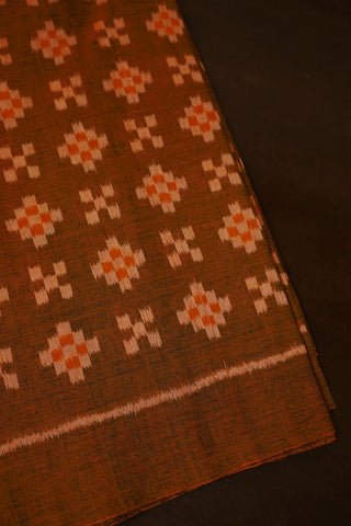 Double Shade Greenish Orange Orissa Ikat Cotton Fabric