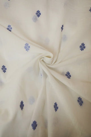 Blue Arrow Bengal Jamdani Cotton Fabric
