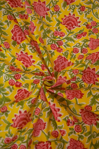 Yellow with Pink Floral Sanganeri Block Printed Cotton Fabric