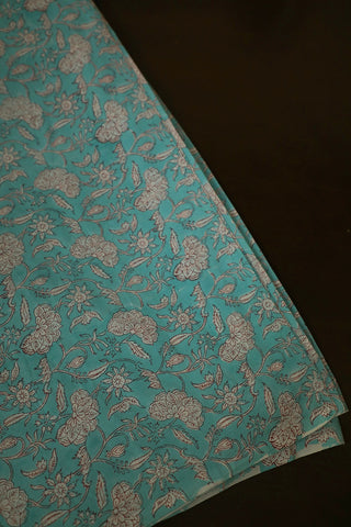 Light Blue Floral Sanganeri Cotton Fabric-1 m