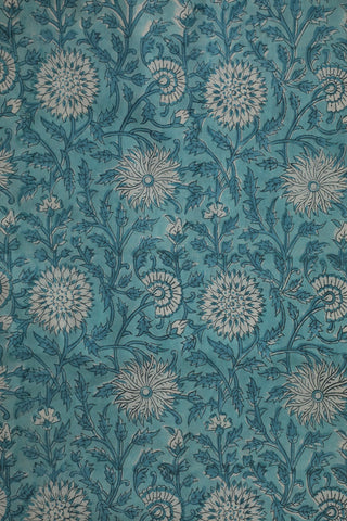 Shades Of Blue Floral Block Printed Sanganeri Cotton Fabric