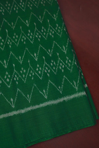 Zigzags in Green Orissa Ikat Cotton Fabric