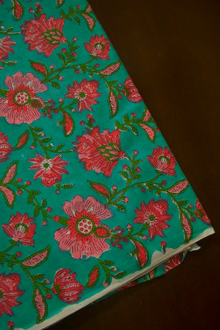 Bluish Green with Pink and Peach Sanganeri Block Printed Cotton Fabric