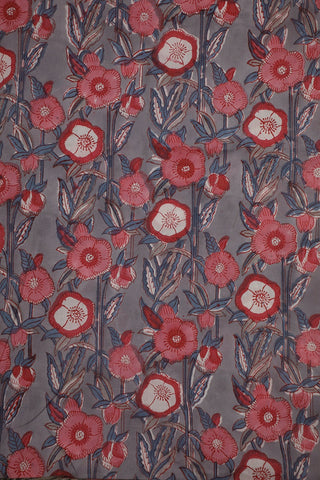 Grey with Pink Floral Block Printed Sanganeri Cotton Fabric