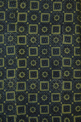 Indigo with Greenish yellow Boxes - Block Printed Ajrak fabric