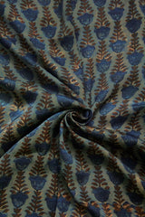 Indigo with Maroon Block Printed Modal Silk Fabric