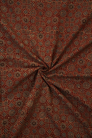 Stars & Circles in Red Block Printed Ajrak fabric
