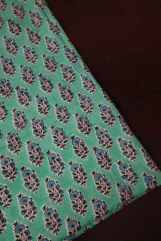 Bluish Green Floral Block Printed Sanganeri Cotton Fabric