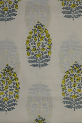 Yellow with Grey Big Floral Sanganeri Cotton Fabric