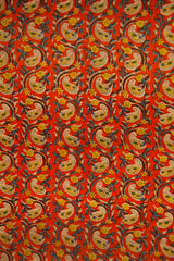 Orange with Yellow Paisley Chanderi Fabric