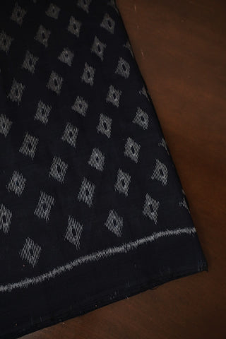 Black with Grey Diamond Orissa Ikat Cotton Fabric