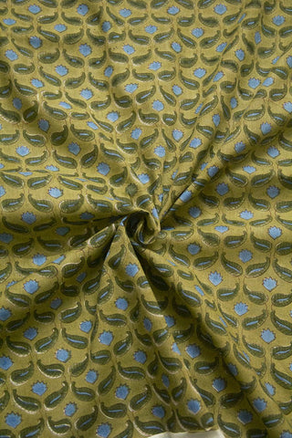 Blue with Olive Green Paisley Mughal Print Mul Cotton Fabric