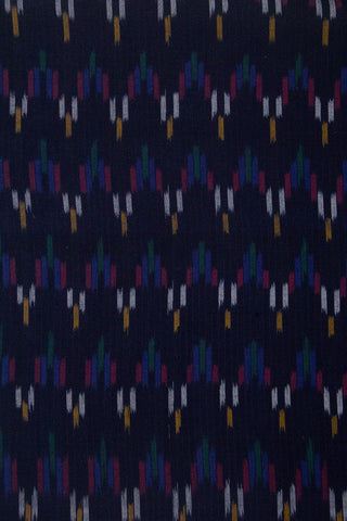 Dark Blue Handwoven Ikat Cotton Fabric