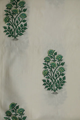 White with Green Big Floral Sanganeri Cotton Fabric