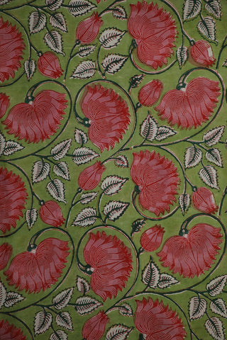 Green with Pink Lotus Block Printed Sanganeri Cotton Fabric