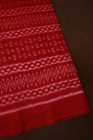 Bright Red Orissa Ikat Cotton Fabric