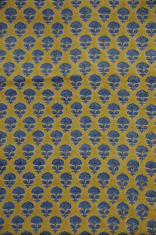 Blue Small Flower Block Printed Sanganeri Cotton Fabric