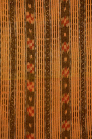 Beige with Orange Orissa Ikat Cotton Fabric