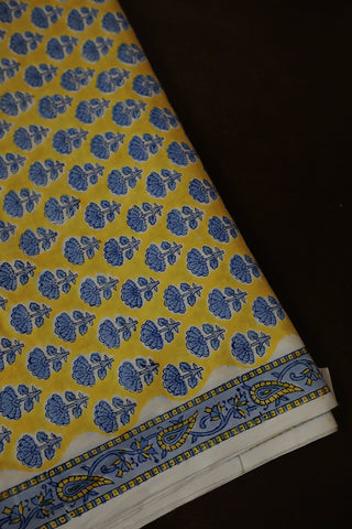 Blue Small Flower Block Printed Sanganeri Cotton Fabric-1.1 m