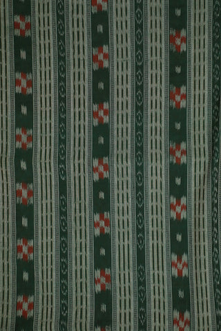 Dark Green with Red Orissa Ikat Cotton Fabric