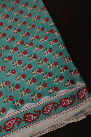Light Blue with Peach Floral Sanganeri Cotton Fabric