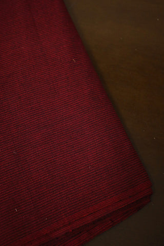 Pinkish Maroon with Black Pin Stripes Yarn Dyed Cotton Fabric