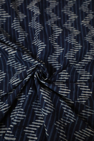 Indigo Lines and Zig Zag Dabu Print Cotton Fabric