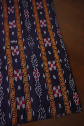 Dark Navy Blue Orissa Ikat Cotton Fabric