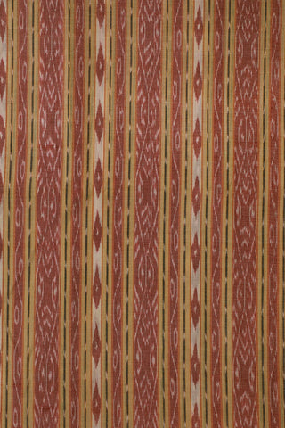 Double Shade Red with Light Beige Orissa Ikat Cotton Fabric