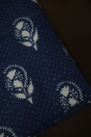 Indigo with Off White Dabu Print Cotton Fabric