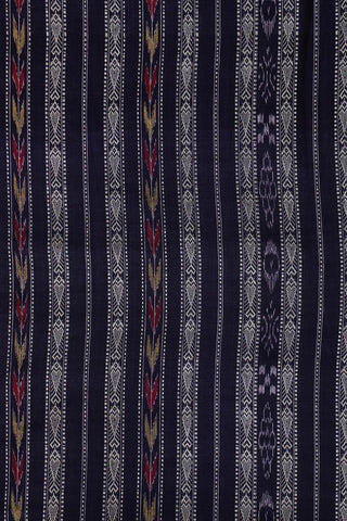Blue with Grey Fish Lines Orissa Ikat Cotton Fabric