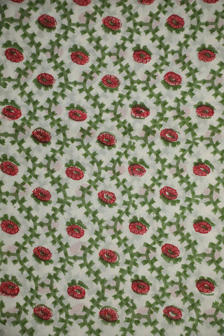 Green with Pink Block Printed Sanganeri Cotton Fabric