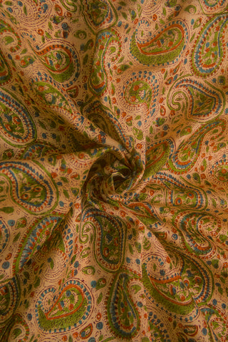 Beige with Green Paisley Sanganeri Chanderi Fabric