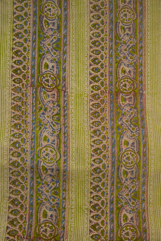 Green Lines Silk Cotton Fabric