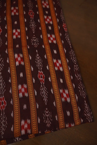 Patterned Maroon Orissa Ikat Cotton Fabric