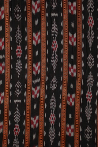 Black with Red Orissa Ikat Cotton Fabric
