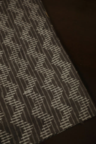 Grey Zig Zag Dabu Print Cotton Fabric