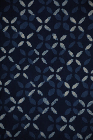 Indigo Floral Checks Dubu Print Cotton Fabric