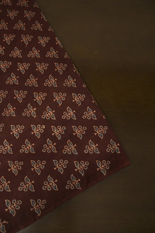Brownish Maroon with Indigo Block Printed Ajrak fabric