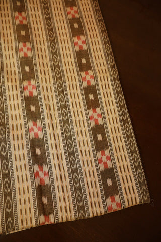 Light Beige Orissa Ikat Cotton Fabric