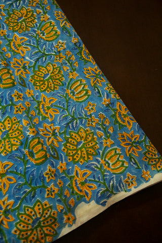 Blue with Yellow Flower Sanganeri Chanderi Fabric-1.4 m