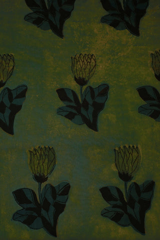 Smudged Yellow Green Block Printed Cotton Fabric