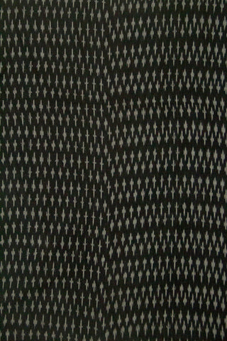 Black with Grey Mercerized Ikat Cotton Fabric
