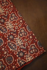 Maroon with Beige Block Printed Ajrak Fabric