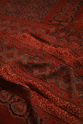 Maroon Block Printed Chanderi Ajrak Saree