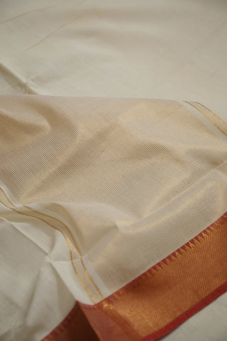 Off White with Light Pink Zari Border Mangalagiri Cotton Saree